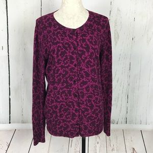 Merona Burgundy Print Cardigan Sweater